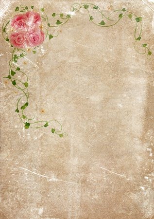 Grungy backdrop of old paper texture with floral ornaments