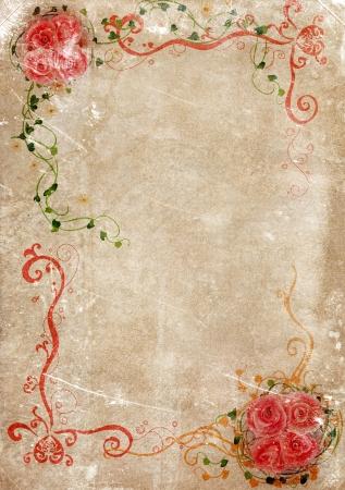 pergamino: Tel�n de fondo sucio de la textura de papel viejo con los ornamentos florales