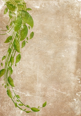 Grungy backdrop of old paper texture with floral ornaments Stock Photo - 12135505