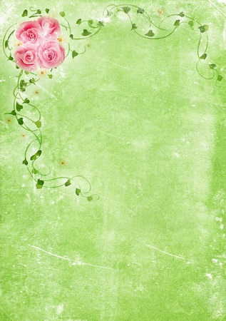 Grungy backdrop of old paper texture with floral ornaments photo