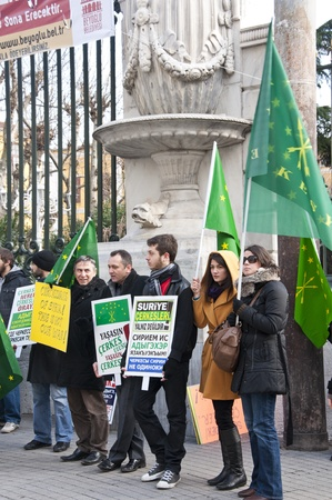 Circassians out in the Istiklal Road, Istanbul to support the Circassian people living in hard conditions in Syria, January 30 2012