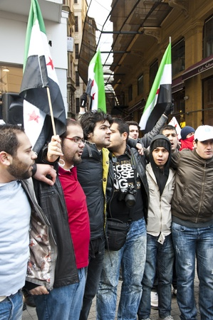Syrians of Turkey protesting the happenings and the brutality towards the civilians in Syria, Istiklal Road, Taksim, Istanbul, Turkey - January 30, 2012 Stock Photo - 12271899