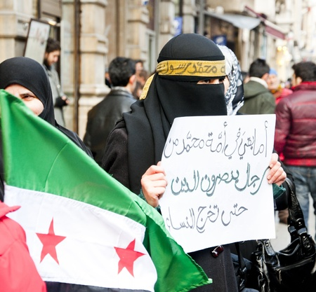 Syrians of Turkey protesting the happenings and the brutality towards the civilians in Syria, Istiklal Road, Taksim, Istanbul, Turkey - January 30, 2012