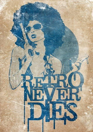 gangster girl: Illustration of a dangerous retro girl holding a gun and a cigarette, on old paper background