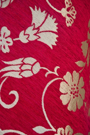 red carnation: Detail from Turkish fabric with traditional floral designs