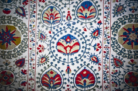 turkish rugs: Detail from Turkish fabric with traditional floral designs