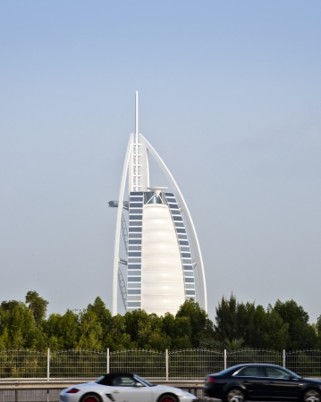 classed: DUBAI, UAE - FEB 23, 2012 The grand sail shaped Burj al Arab Hotel taken February 23, 2012 in Dubai  The hotel is classed as one of the most luxurious in the world and is located on a man made island  Editorial