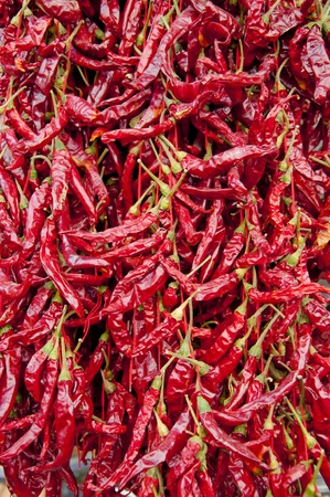 Texture of dried hot peppers photo