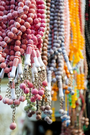Many prayer beads in various colors found in a Turkish bazaar photo
