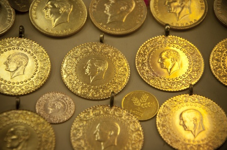 Turkish Golden coins with Ataturk s relief photo