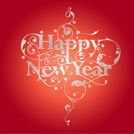 Happy New Year hand drawn typography design with floral ornamentation Vector