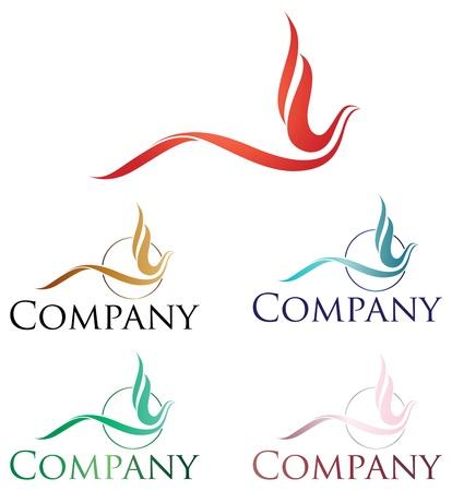 palomas volando: Elegante dise�o de logo, estilizado p�jaro de fuego o F�nix