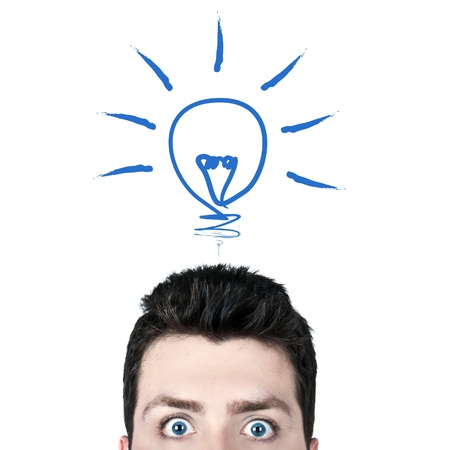Young man surprised with wide open eyes and a bulb icon, brilliant idea concept Stock Photo - 13770897
