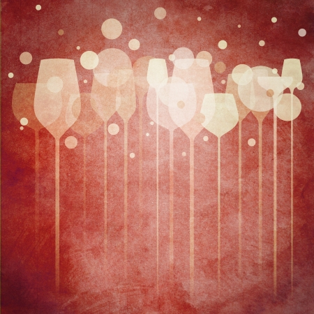 wine bar: A funky illustration of various alcohol drink glasses, perfect for menu, poster and cover design etc. Stock Photo