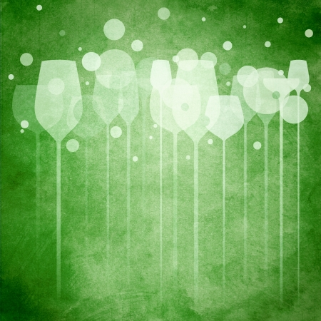 champagne bubbles: A funky illustration of various alcohol drink glasses, perfect for menu, poster and cover design etc. Stock Photo