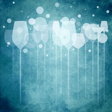 invitacion fiesta: Una ilustraci�n de funky de varios vasos de beber alcohol, perfecto para el men�, carteles y dise�o de la cubierta, etc Foto de archivo