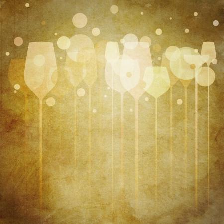 Un esempio funky di occhiali varie bevande alcoliche, perfetto per il menu, poster e design di copertura, ecc