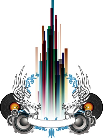 tunes: Music-themed ornamental illustration with speakers, wings and color bars Illustration