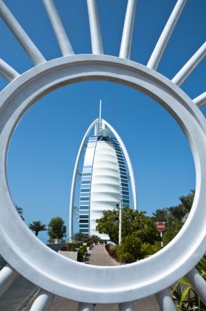 DUBAI - FEB 27  Burj Al Arab - at 321m luxury hotel stands on artificial island, Feb 21, 2012 Jumeirah beach, Dubai, United Arab Emirates  Stock Photo - 14138207