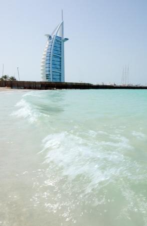DUBAI - FEB 27  Burj Al Arab - at 321m luxury hotel stands on artificial island, Feb 21, 2012 Jumeirah beach, Dubai, United Arab Emirates