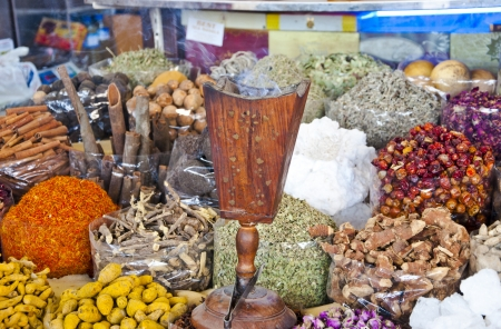 sorts: Various sorts of spice sold at the souk in Dubai, UAE