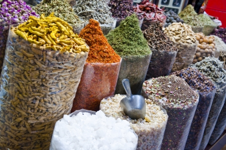 Various sorts of spice sold at the souk in Dubai, UAE