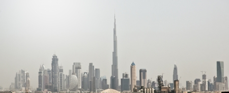 Dubai skyline with high towers, taken from Al Barsha, Dubai, UAE photo