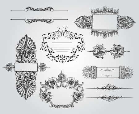 A rich collection of beautiful ornaments and calligraphic items Vector
