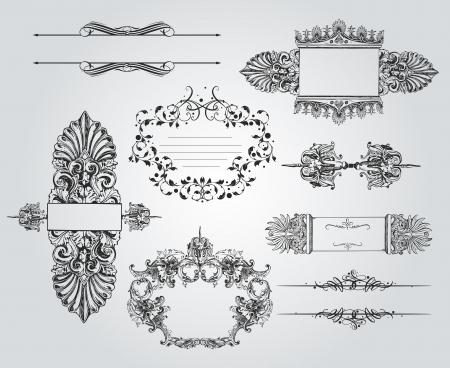 baroque: Una rica colecci�n de hermosos adornos y elementos caligr�ficos Vectores