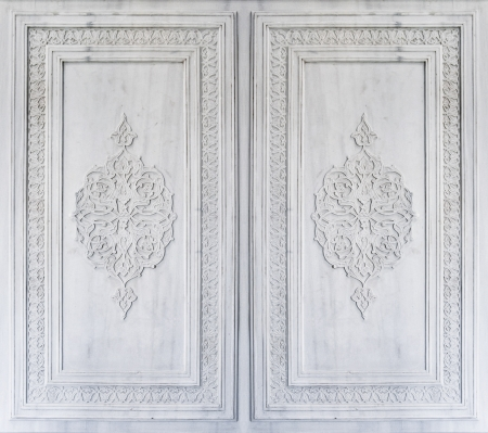 Beautiful Ottoman Turkish ornaments carved on marble photo