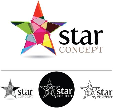 Concepto de dise�o corporativo con una estrella estilizada y las variaciones