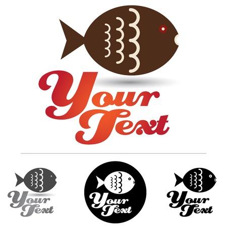 logo poisson: Emblème du poisson d'entreprise ou une icône avec des options alternatives Illustration