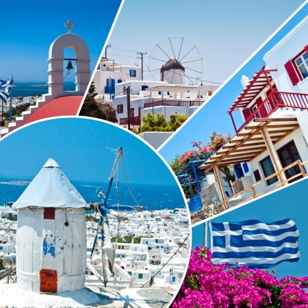 Collage of Mykonos island with wihtewash little houses, tiny churches and beautiful old windmills in summertime