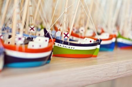 turkiye: Handmade wooden boat figurines, touristic gifts from Alacati, cesme,   304;zmir in Turkiye