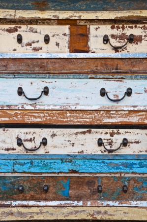 rusty nail: Old wooden drawer detail