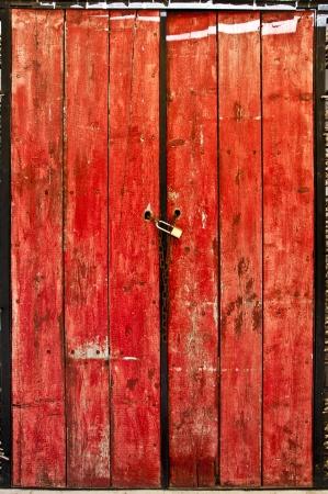 red door: Old red door Stock Photo