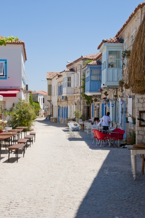 Traditional architecture of the beautiful touristic town Alacati, Cesme, Izmir, Turkey