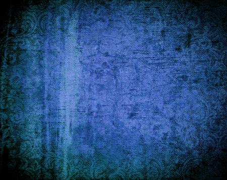 azul marino: Fondo grunge hermoso con efecto de luz y diseños florales