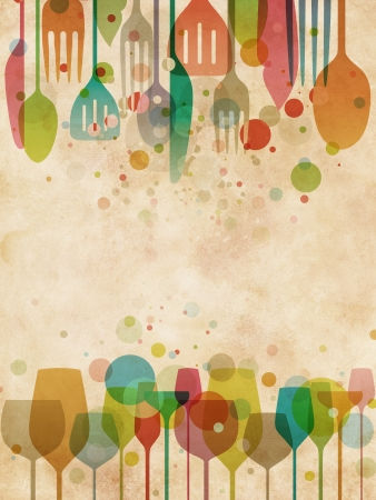 fork glasses: Bellissimo sfondo per i disegni di cibi e bevande con eleganti, illustrazione stilizzata di bicchieri e utensili su texture vintage Archivio Fotografico