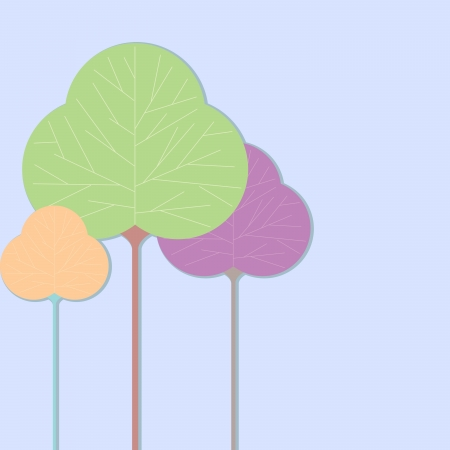 Three leaf shaped tree illustrations on a solid color background Stock Vector - 15050040