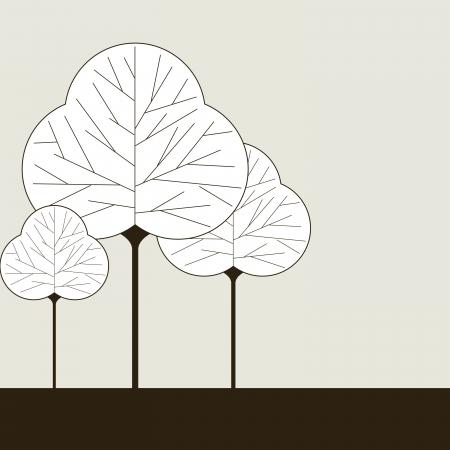 three leaf: Three leaf shaped tree illustrations on a solid color background
