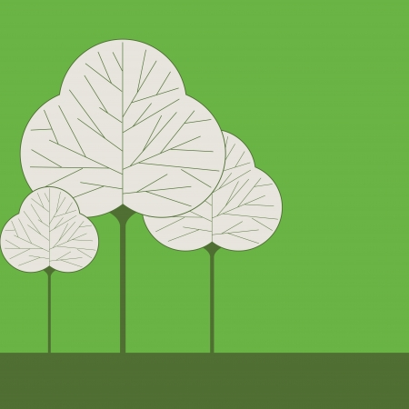 Three leaf shaped tree illustrations on a solid color background Vector