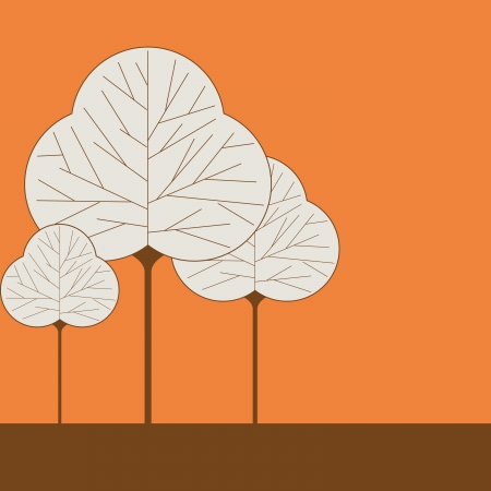 solid color: Three leaf shaped tree illustrations on a solid color background
