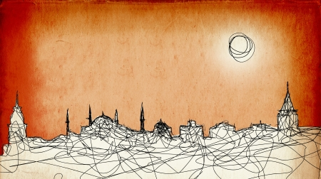 sun s: Sketchy drawing of the Istanbul silhouette on grunge paper background