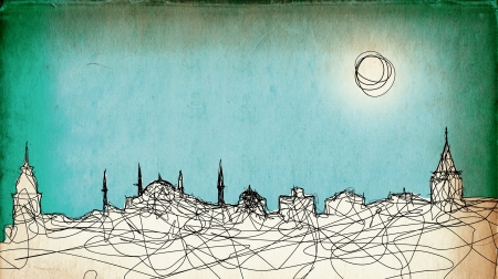 Sketchy drawing of the Istanbul silhouette on grunge paper background Stock Photo - 15360141