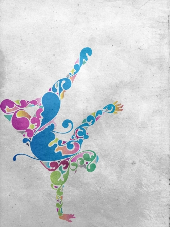 abstract dance: Old paper background with green abstract design and world globe