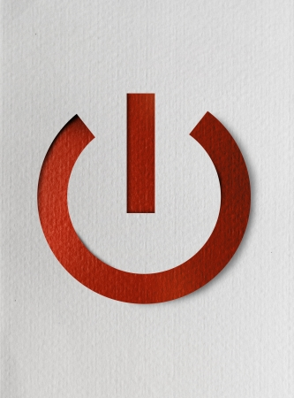 clean off: Realistic illustration of red switch symbol on white paper background