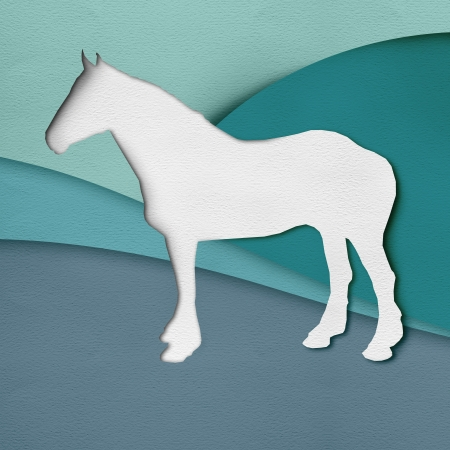 Illustration of a horse outdoor, real looking collage with paper texture illustration
