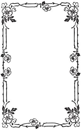floral silhouette: Beautiful decorative floral frame, art nouveau design element