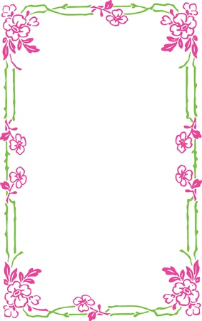 marriage certificate: Beautiful decorative floral frame, art nouveau design element